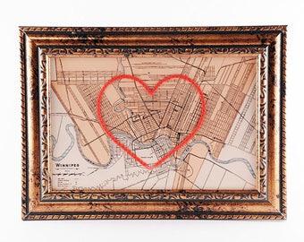 Winnipeg Hand Embroidered Heart Map, Winnipeg Map Print, Manitoba, Paper, Cotton Anniversary, Wedding, Graduation, Love, Engagement Gift