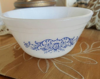 Federal Glass Vintage Blue Flower Design Doggy Bowl, Bathroom Soap Dish. Cat Dish, Cute Kitchen Decor