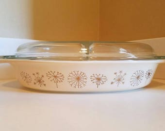 """Vintage 1959 Pyrex Promotional """"Dandelion Duet"""" divided casserole dish with Clear Lid Retro Kitchen Decor Whimsy Kitchen"""