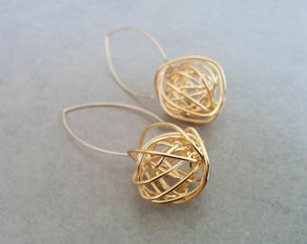 Gold Long Earrings, Gold Earrings, Long Earrings, Dangle Earrings, Gold Dangle Earrings, Modern Earrings, Gift For Her, Trendy Earrings