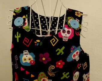 Girls dress, 'day of the dead' pinafore dress, age 6