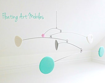 Hanging Mobile, Baby Mobile, Nursery Crib Mobile, Modern Nursery, Mobiles, Mint Grey and White, Modern Home, Crib Mobile, Mid Century Modern