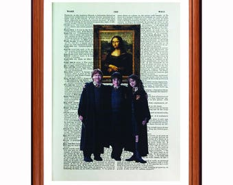 Harry Potter  vs  - Mona Lisa - Da Vinci - dictionary art print home decor present gift - Pop Art