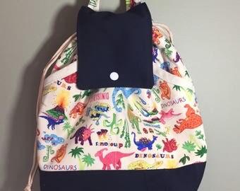 Toddlers knapsack, Childs Backpack, Kids backpack,  Childs Tote Bag, Canvas Bag, Dinosaurs, Boys Backpack
