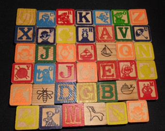 "41 Vintage Wooden Wood Alphabet Blocks Sesame Street Muppets Colorful Images Just Over 1"" on the edges"