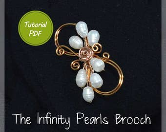 Wire Jewelry Tutorial: The Infinity Pearls Brooch Wire  tutorial, wire jewelry tutorial, PDF, PDF tutorial, copper wire tutorial