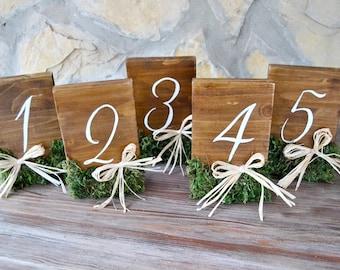 Rustic Wedding Table Numbers Moss Raffia. Set of 15. Table Number. Hand Painted Wedding Table Number. Rustic Wedding reception decor.