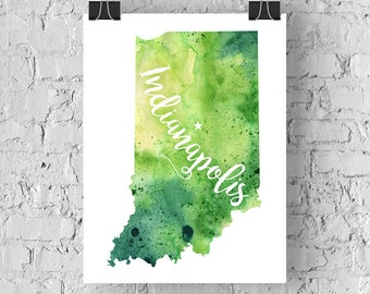 Custom Indiana Map Art, Indiana Watercolor Heart Map Home Decor, Indianapolis or Your City Hand Lettering, Personalized Print, 5 Colors
