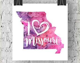 I Heart MIssouri Map Art Print, I Love Missouri Watercolor Home Decor Map Painting, MO Giclee US State Art, Housewarming Gift, Moving Gift