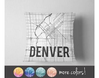 Watercolor Denver map throw pillow