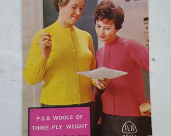 REDUCED IN PRICE -Vintage Knitting Pattern / / 1950's /P&B / 1180