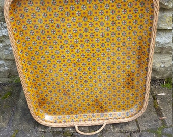 French Retro Tray / Kitchenalia / Flower design / Vintage Serving Tray / Serving Tray / Wicker Tray / Vintage Tray