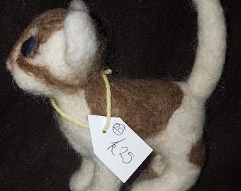 Needle Felted OOAK brown/white kitten cute needle felting