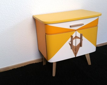 Small yellow graphic occasional furniture