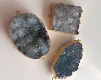 Green tone druzy connectors - Druzy connectors, gold plated druzy, green druzy