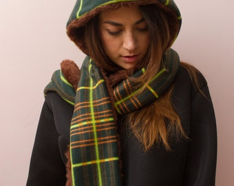 Hooded scarf by fleece and faux fur