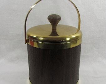 Brass & Wood Insulated Ice Bucket, Made In USA, Mid Century Decor, Vintage Barware