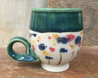 Porcelain Tea Cup with Wildflower Mocha Diffusion - Handmade Wheel Thrown Cappuccino Latte Mug in Deep Green 13 oz
