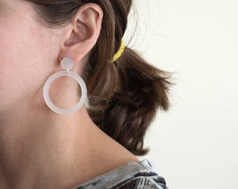 Translucent White Circle Hoop Earrings