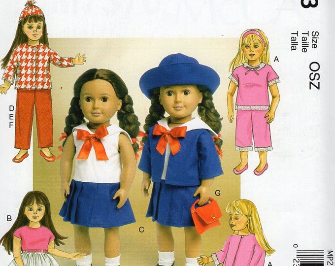 "McCall's P293 7370 Free Us Ship Out of Print  18"" Doll Clothes Wardrobe Sailor Pj's Nightgown robe New Sewing Pattern Fits American Girl"