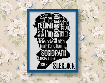 BOGO SALE, Cross stitch pattern, Sherlock Quote, Instant Download, Cross-Stitch PDF, Needlework, Needlecraft, Embroidery, Digital #068