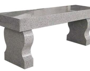 Georgia Gray Granite Bench Solid Granite Curved Leg Bench Memorial Headstone Tombstone Cemetery Headstone Monument