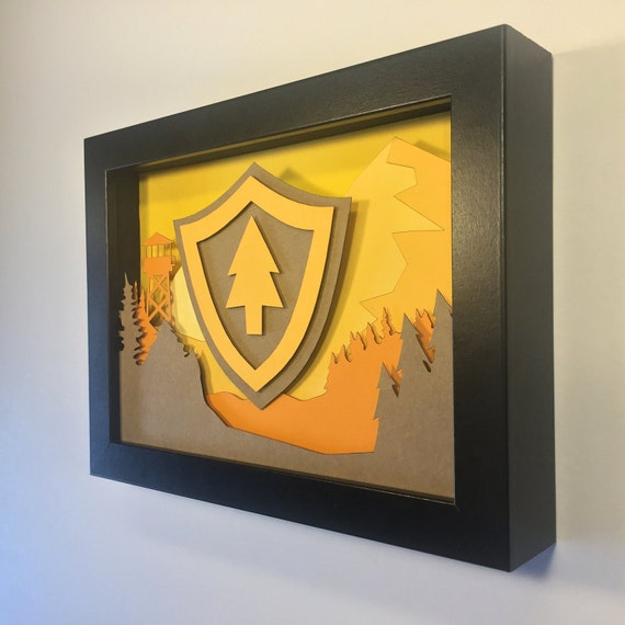 Firewatch 3D Paper Craft Shadow Box 5x7