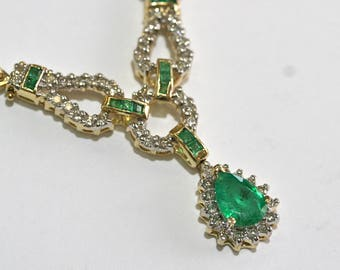 Diamond Emerald Pear Shape Necklace 14kt Yellow Gold NATURAL Vintage Halo Green