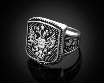 Sterling Silver Russian Imperial Crest Mens Orthodox Cross Ring