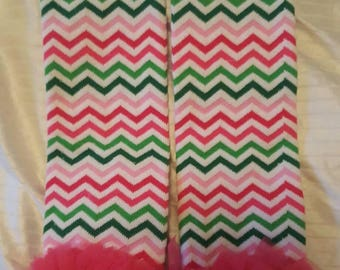 Pink and green zigzag Ruffle baby leg warmers