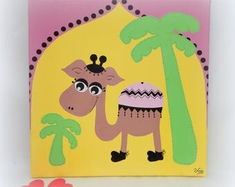 Oriental table for child's room / table Dromedary / baby room Decoration / Decoration wall Desert Palms / canvas 30x30cm