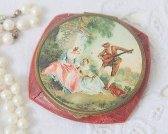 Vintage French Powder Compact with Mirror, Fragonard Decor, France
