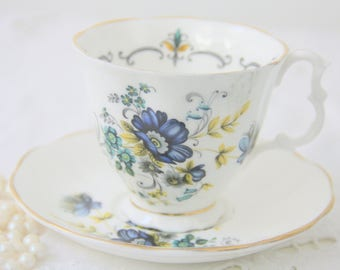 Vintage Sheltonian China Cup and Saucer, Blue aand Green Flower Decor, England