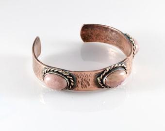 Handmade Copper Bracelet With Pinklite Stones