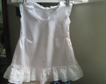 Pink Child's Cotton Batiste Ruffled Slip~~Girl's Size 2 Ruffled Lace Trimmed Slip~~Vintage Girl's Slip