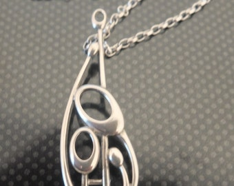 Vintage Ola Ma Gorie OMG Orkney Scottish Silver Art Nouveau inspired Pendant and Chain - FREE UK Postage - Gift/Pressie.
