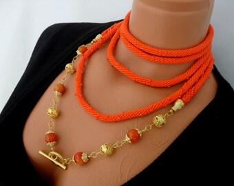 FREE SHIPPING. Beaded Crochet Necklace. Lariat. Orange Fantasy.