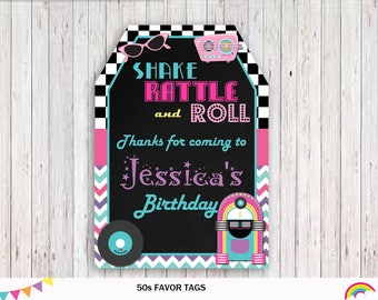 50s Thank You Tags, Fifties Gift Tags, Fifties Birthday Party, 50s Favor Tags Printable, 50s Favor Tags Chalkboard