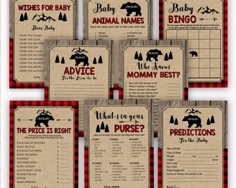 Lumberjack Baby Shower Games Package, Buffalo Plaid Baby Shower Printable, Woodland Camping Baby Shower, Rustic Baby Shower INSTANT DOWNLOAD