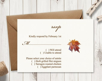 "Watercolor RSVP Template ""Fall In Love"", Brown. DIY Printable Wedding Response Cards. Wedding Inserts. Editable Text, Word. Instant Download"