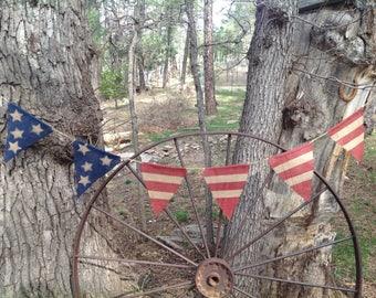 Patriotic Banner-Pennant-Americana Patriotic Pennant Banner-Burlap Pennant-Banner-Rustic-red-white-blue-America