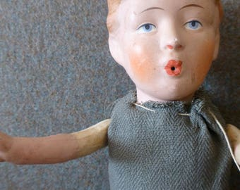 Antique Straw Filled Boy Doll with Moveable Arms & Legs and Ceramic Head