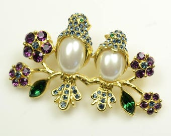 Trifari™ Rhinestone and Faux Pearl Pin