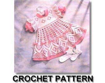 crochet, pattern, baby, dress, baby dress, pattern, baby crochet dress pattern, vintage pattern, spider web design crochet pattern