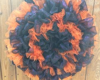 Black, Purple and Orange Ribbon Wreath