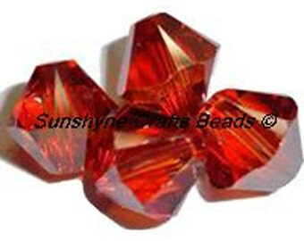 Swarovski Crystal Beads 5328 CRYSTAL RED MAGMA Xilion Faceted Bicone Beads - Sizes 4mm & 6mm available