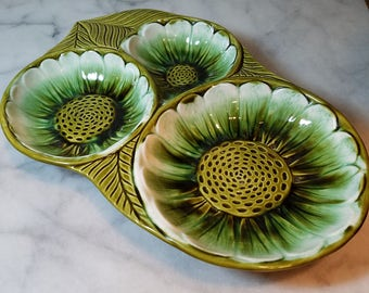 Vintage Mid Century California Pottery Divided Tray Green Sunflowers
