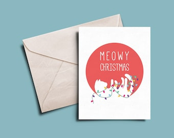 Meowy Christmas Holiday Card 5 x 7 | Printable | Instant Download | Christmas | Cat