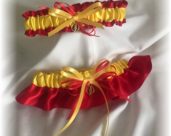 The Flash Wedding Bridal Garter Set, Red and Yellow Bridal Garter, Superhero Garter,