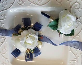 SALE Prom Corsage Ivory White Navy and Gold Wrist Corsage with Matching Boutonniere  Prom Corsage Set Ready to Ship